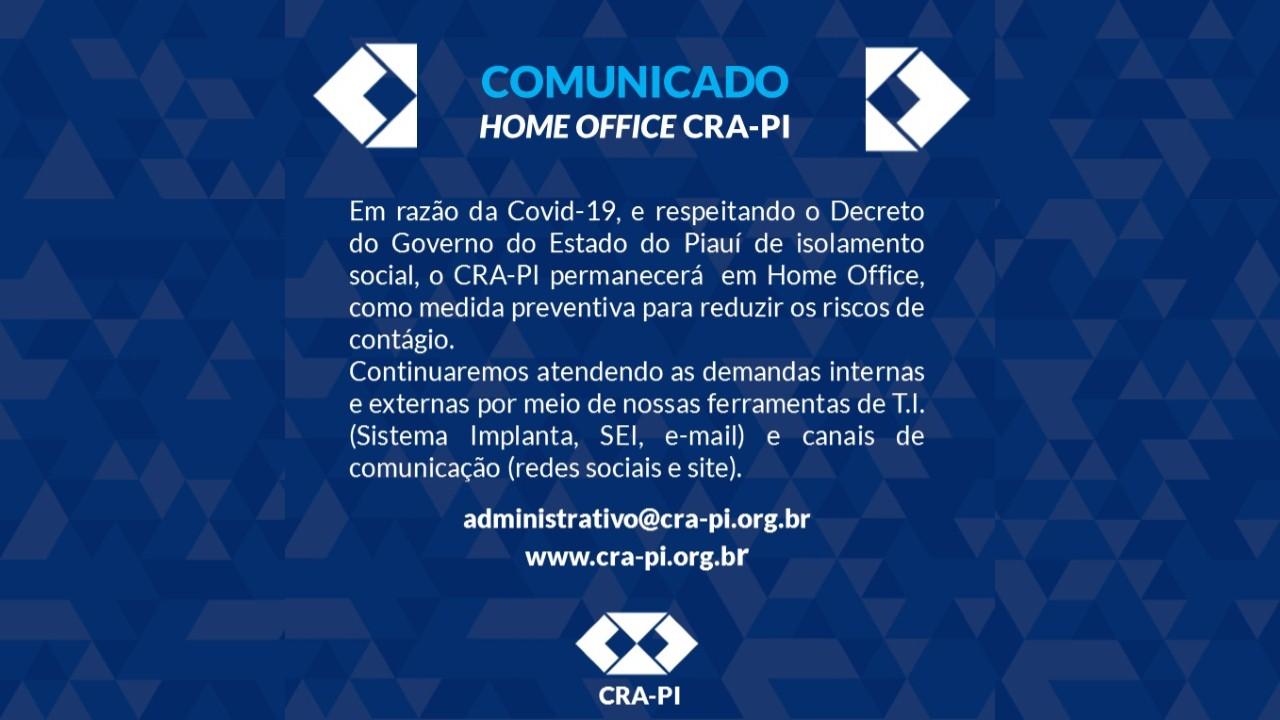 COMUNICADO – FUNCIONAMENTO CRA-PI