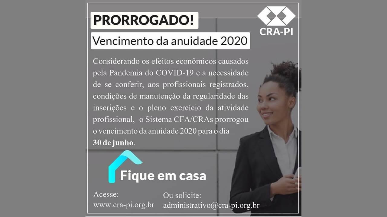 Conselho de Administração do Piauí adia o vencimento da anuidade 2020
